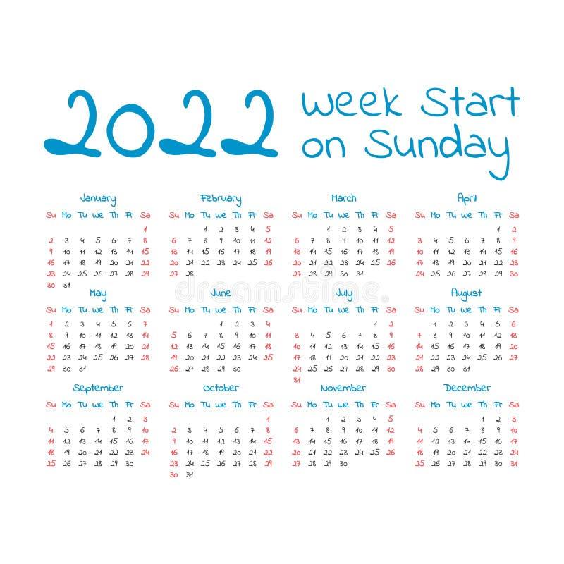 Un calendario semplice da 2022 anni illustrazione di stock