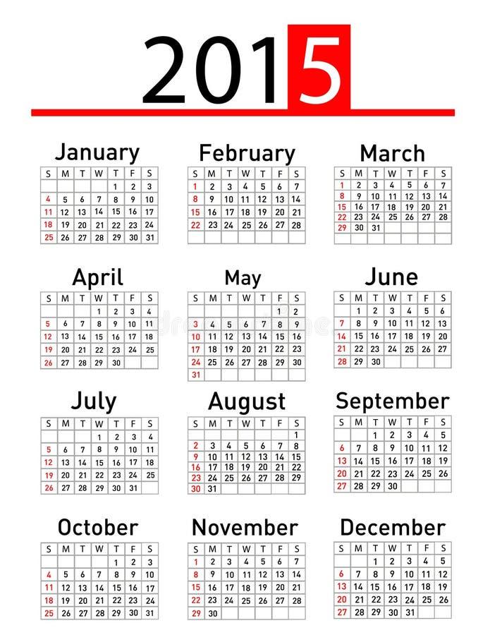 Un calendario semplice da 2015 anni illustrazione di stock