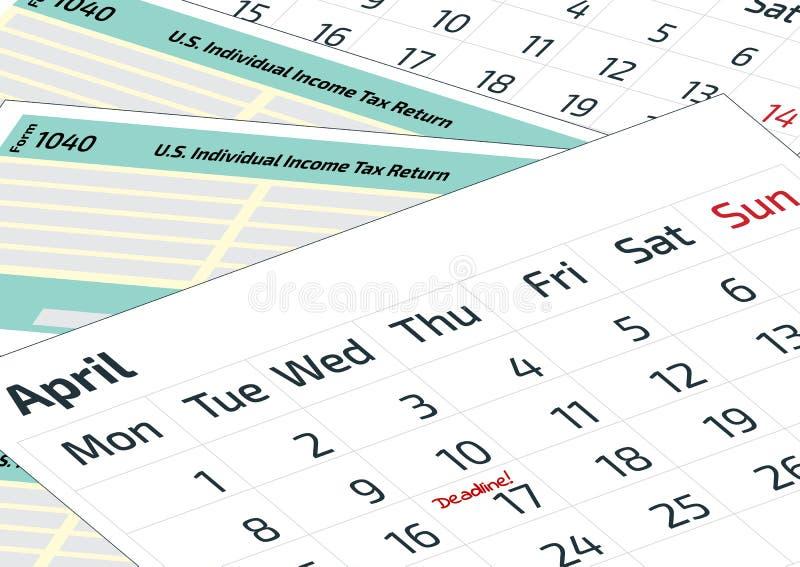 Un calendrier et une forme 1040 d'impôt sur le revenu 2019, feuille d'impôt 2020 1040 et un calendrier Imposez le jour le 17 avri illustration libre de droits