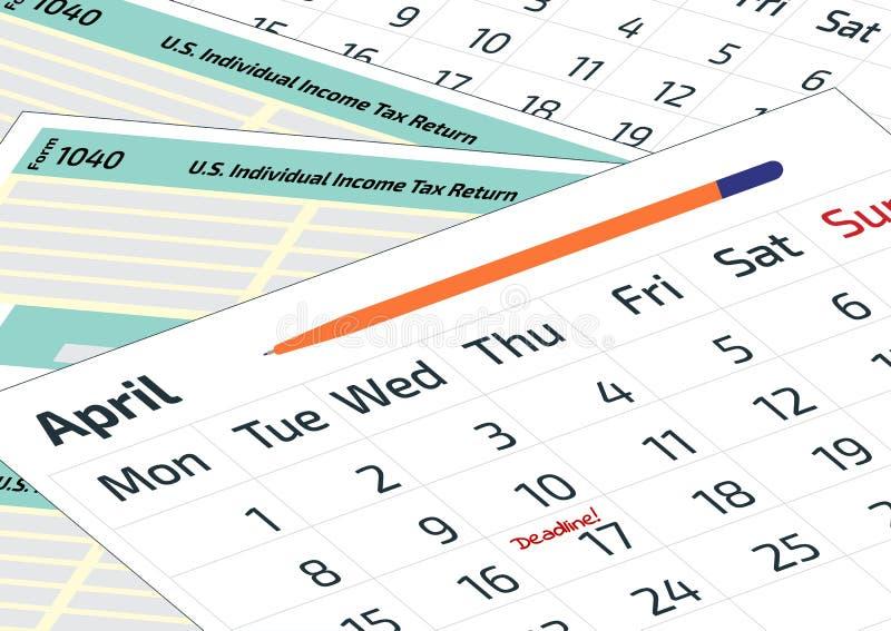 Un calendrier, un stylo et forme 1040 d'impôt sur le revenu 2019, feuille d'impôt 2020 1040 et un calendrier Imposez le jour le 1 illustration stock