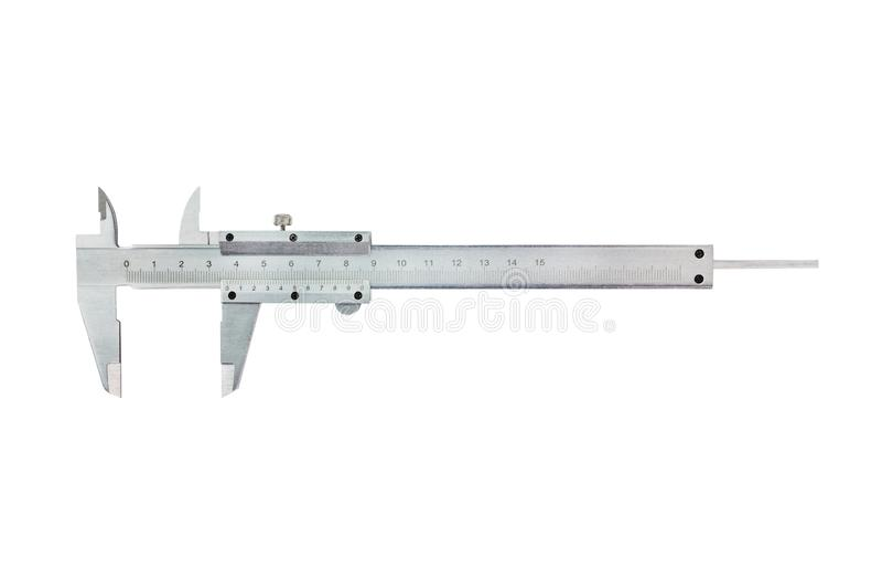 Un calibrador a vernier del metal en el fondo blanco Visión superior imagenes de archivo