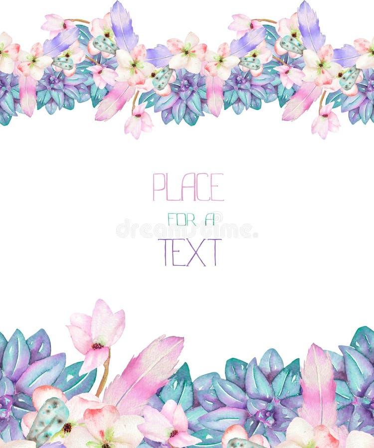 Un calibre d'une carte postale, cadre avec un ornement des succulents d'aquarelle, fleurs et plumes, épousant I image libre de droits