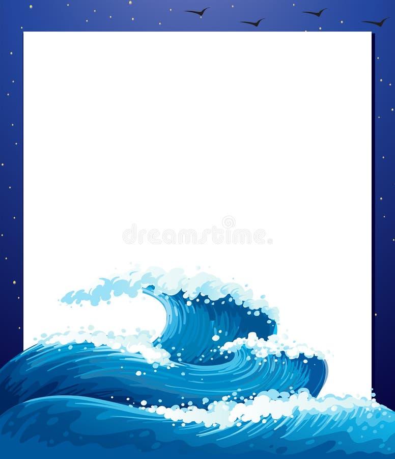 Un calibre de papier vide avec les vagues géantes illustration de vecteur