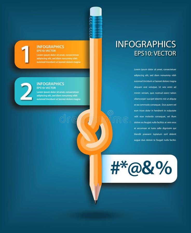 Calibre noué d'infographics de crayon illustration stock