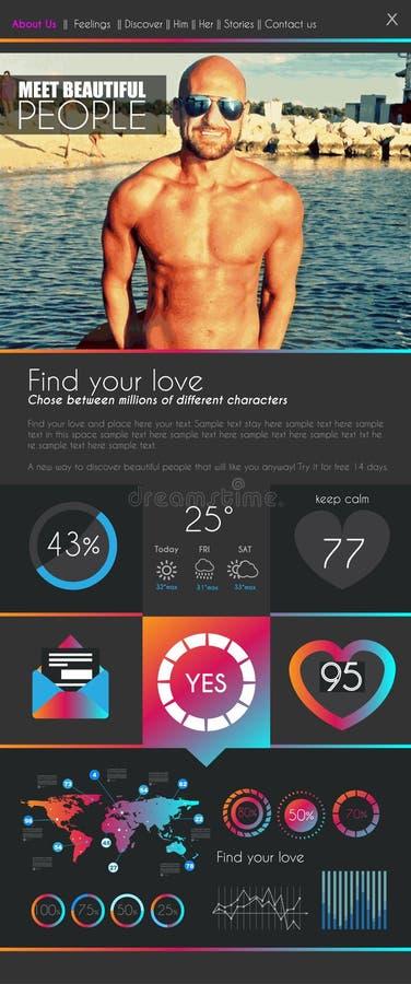 Un calibre plat de conception du site Web UI de datation de page illustration libre de droits
