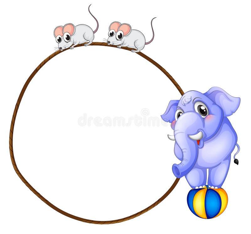 Un calibre rond avec un éléphant bleu et des souris espiègles illustration de vecteur