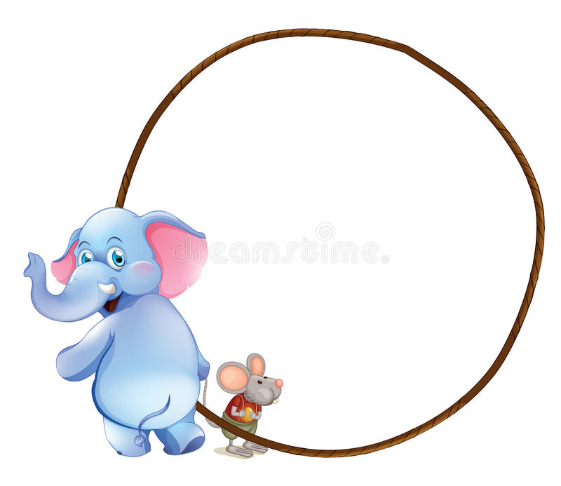 Un calibre vide rond avec un éléphant et une souris illustration libre de droits