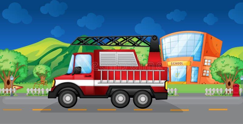 Un camión de remolque rojo ilustración del vector