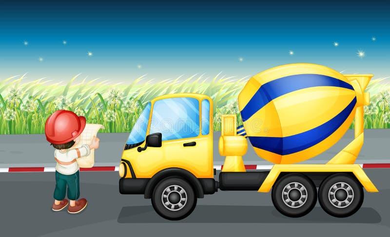 Un camión del cemento con un hombre ilustración del vector