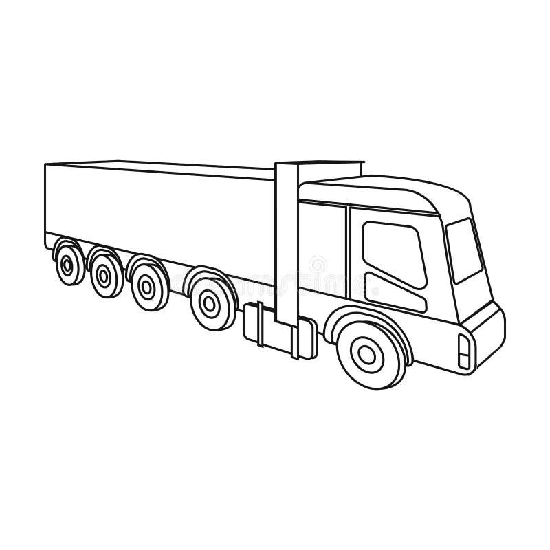 Un camión grande para el transporte de mercancías El solo icono del transporte y de la entrega en esquema diseña vector isométric stock de ilustración