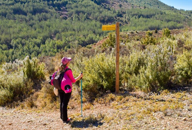 un caminante de la mujer joven con su mochila, casquillo y polo mirando un poste indicador de madera al lado de una manera de la  foto de archivo