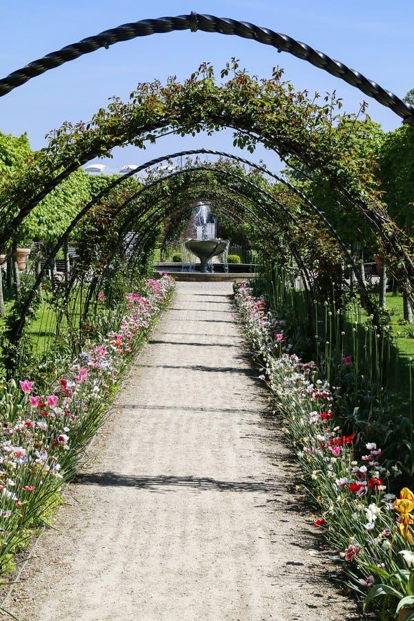 Un camino arqueado alineado con las flores imagenes de archivo