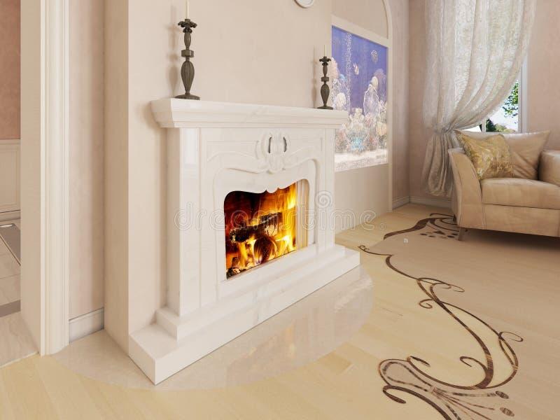 Un camino bianco classico in un salone lussuoso con un acquario costruito nella parete illustrazione di stock