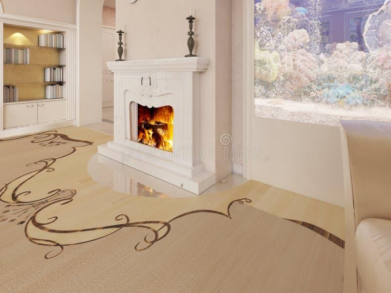 Un camino bianco classico in un salone lussuoso con un acquario costruito nella parete royalty illustrazione gratis
