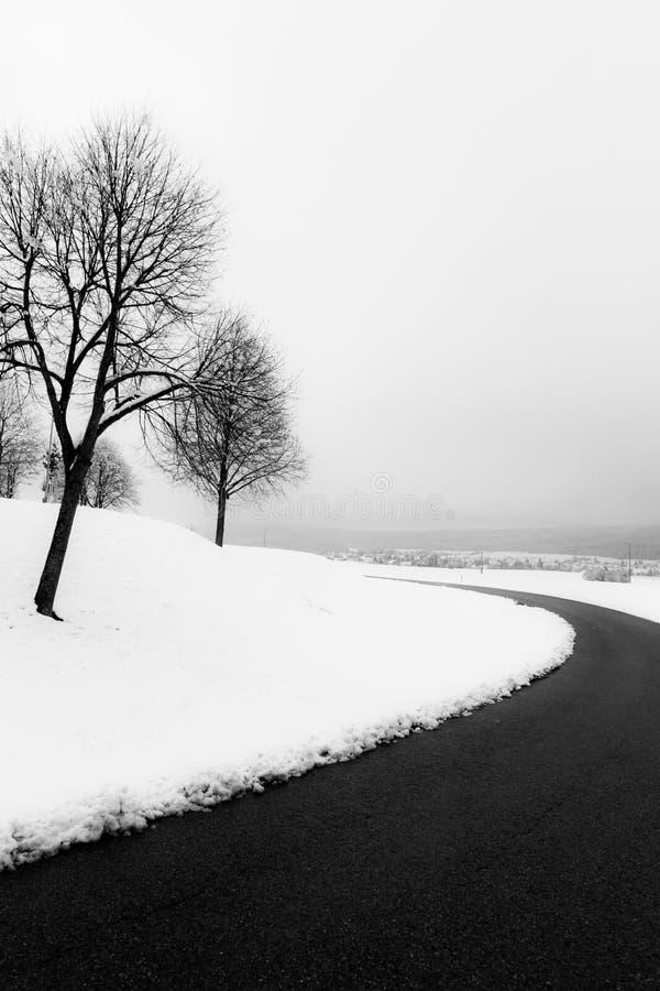 Un camino curvy en medio de la nieve, con los árboles en el lado fotografía de archivo