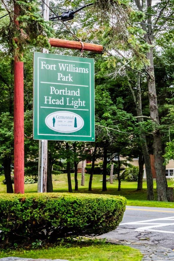Un camino de la entrada que va al parque de cabo Elizabeth, Maine fotografía de archivo libre de regalías