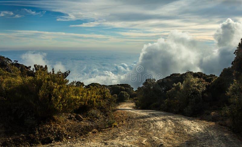Un camino de tierra a las nubes fotografía de archivo libre de regalías