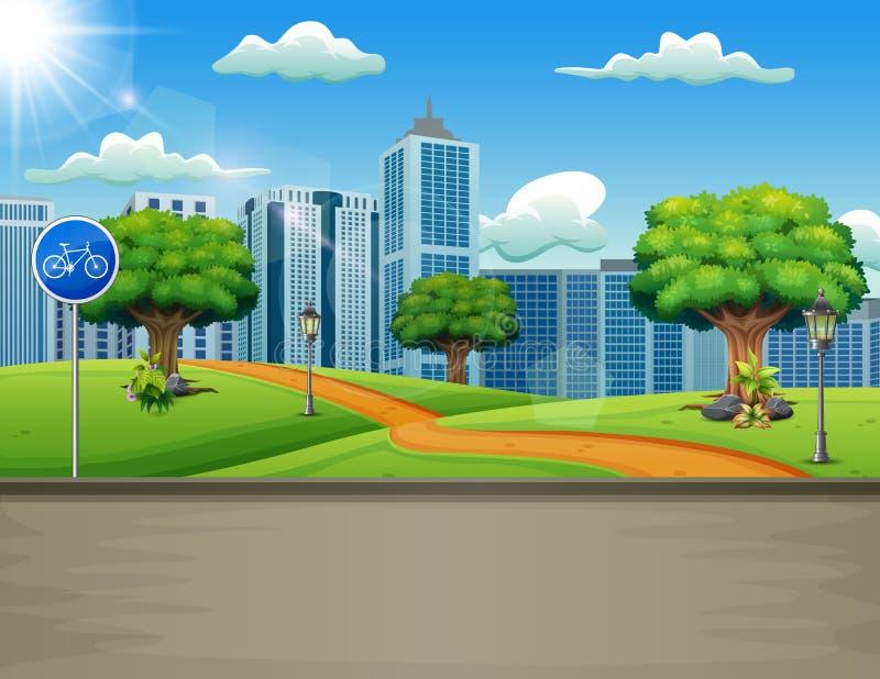 Un camino natural ve con un fondo urbano stock de ilustración