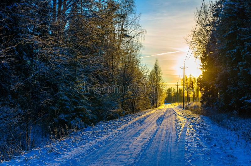 Un camino nevoso del campo por un bosque y líneas telefónicas en la puesta del sol foto de archivo