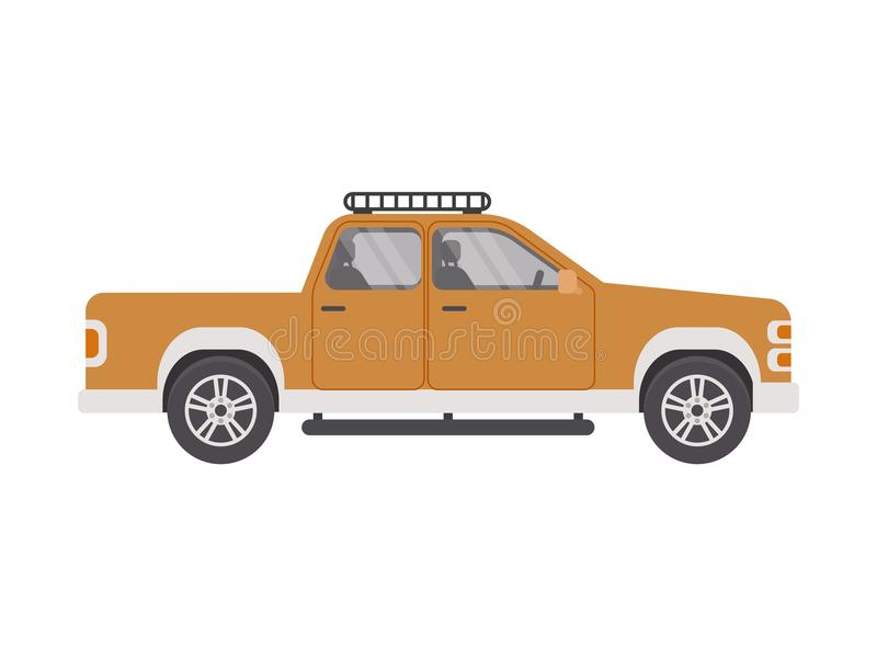 Un camion pick-up de voiture dans un style plat sur un fond blanc d'isolement Illustration de vecteur photo stock