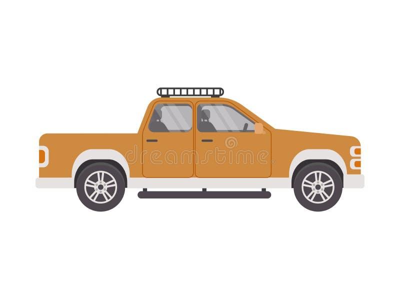 Un camioncino dell'automobile in uno stile piano su un fondo bianco isolato Illustrazione di vettore fotografia stock