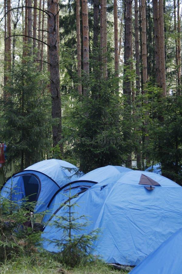 un camp dans les bois images stock