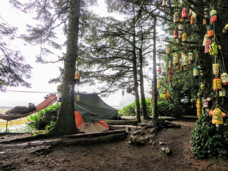 Un camping cuidadosamente marcado a lo largo del rastro de la costa oeste, Vancouver fotos de archivo