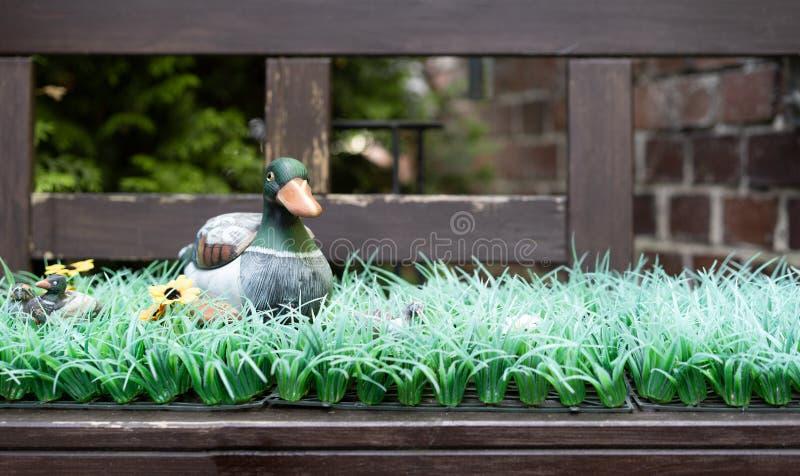 Un canard artificiel se reposant sur l'herbe en plastique sur un banc photos stock