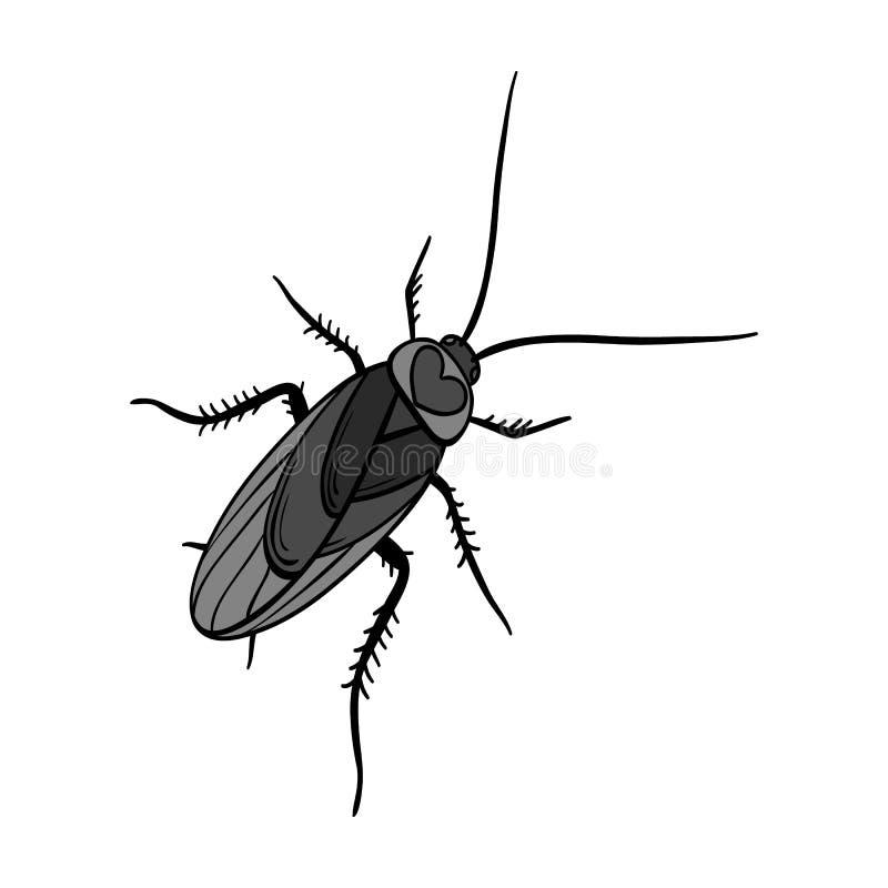 Un cancrelat moustachu Insecte d'arthropode, icône simple de cancrelat en stock monochrome de symbole de vecteur de style isométr illustration libre de droits