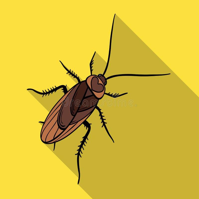 Un cancrelat moustachu Insecte d'arthropode, icône simple de cancrelat en stock plat de symbole de vecteur de style isométrique illustration libre de droits