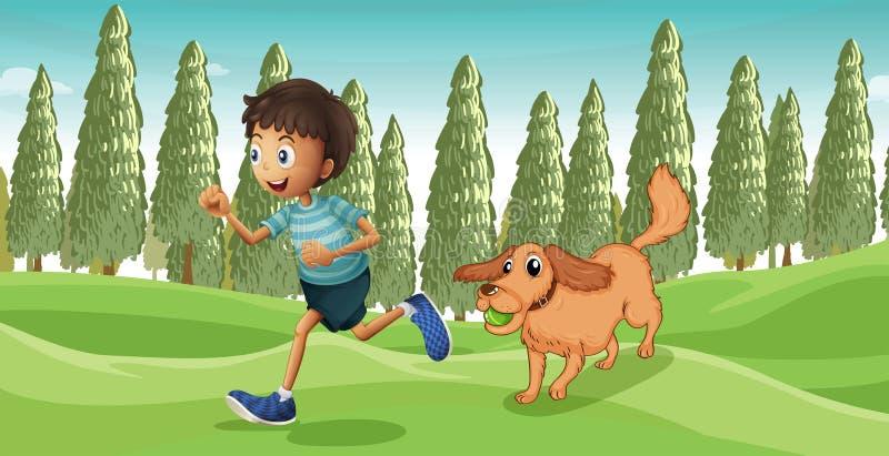 Un cane che gioca con il suo padrone illustrazione vettoriale