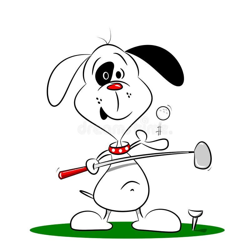 Un cane del fumetto che gioca golf illustrazione di stock
