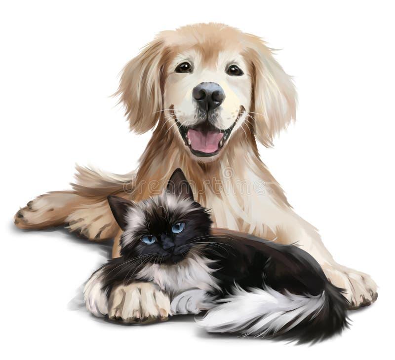 Un cane e un gatto royalty illustrazione gratis