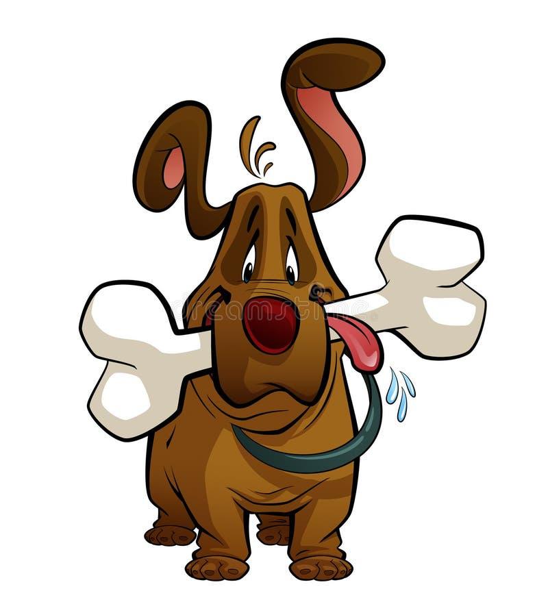 Cane del fumetto con un grande osso illustrazione di stock