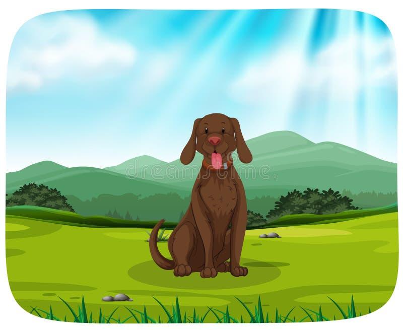 Un cane nel fondo della natura illustrazione di stock