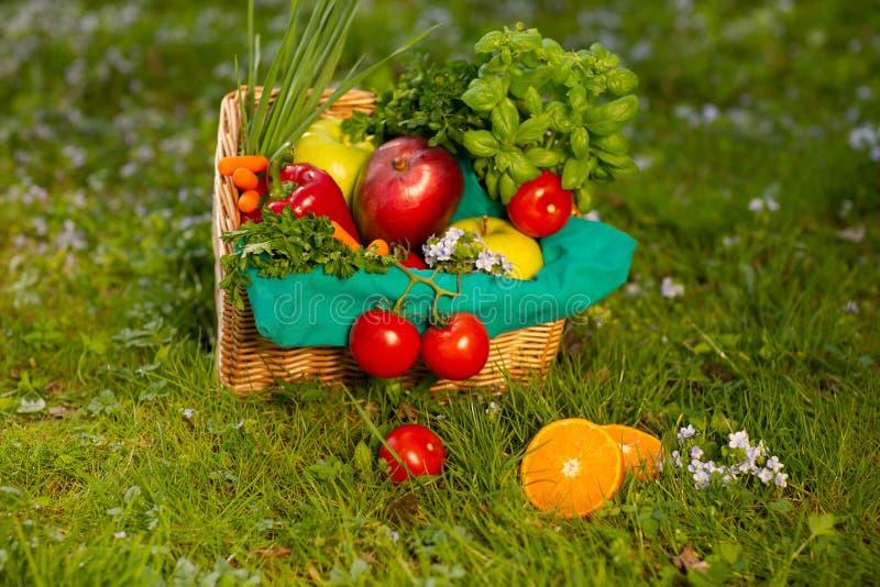 Un canestro di vimini meraviglioso con le verdure e frutti sui precedenti di erba verde immagine stock libera da diritti