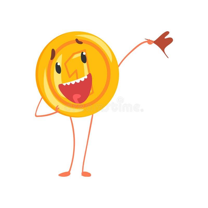 Un carácter amistoso del centavo que se coloca con la bandera a disposición Icono brillante de la moneda Penique de la historieta stock de ilustración
