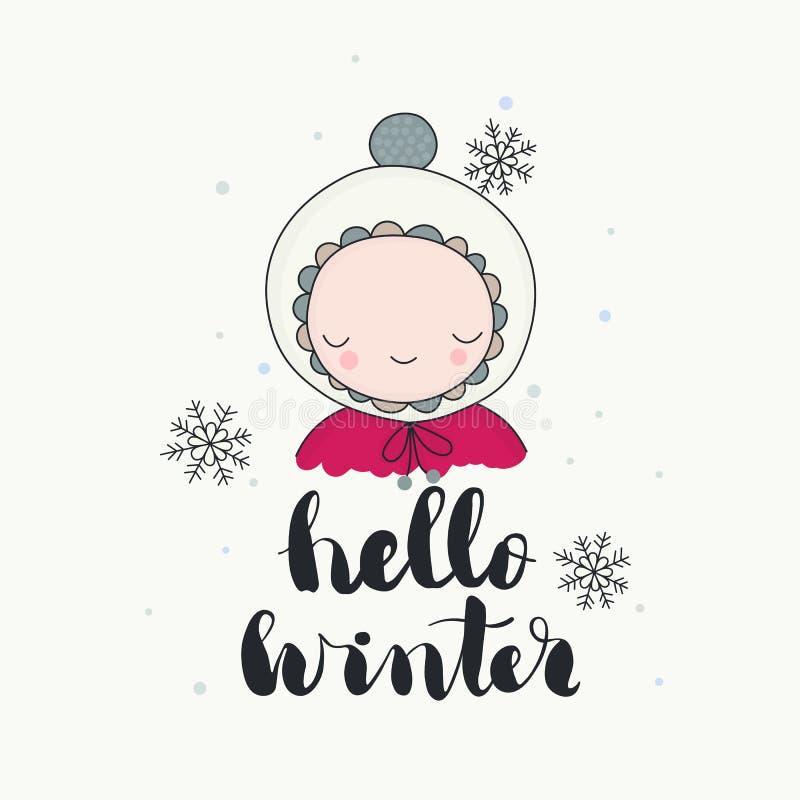 Un carácter sonriente lindo en invierno divertido de la gorrita tejida hola stock de ilustración