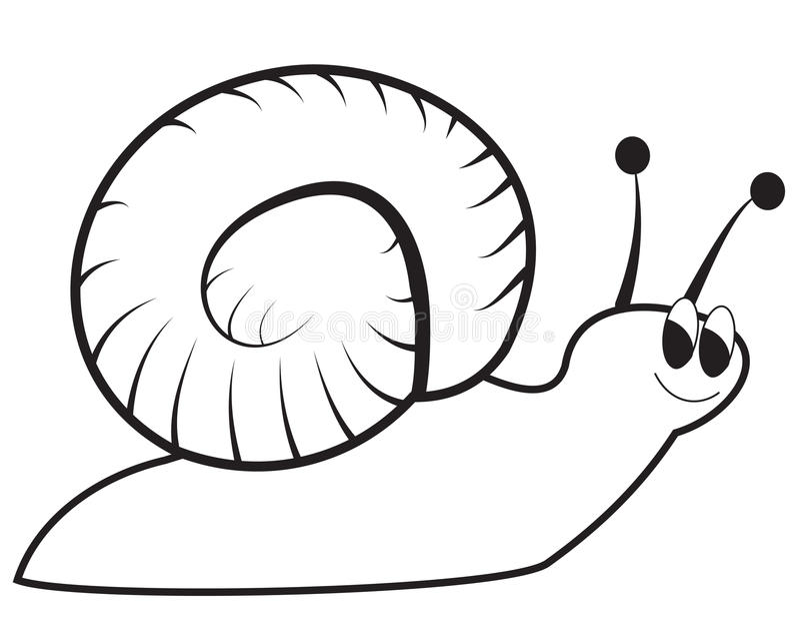 Un caracol verde feliz stock de ilustración