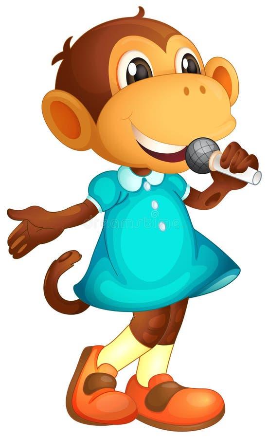 Un caractère de chanteur de singe illustration de vecteur