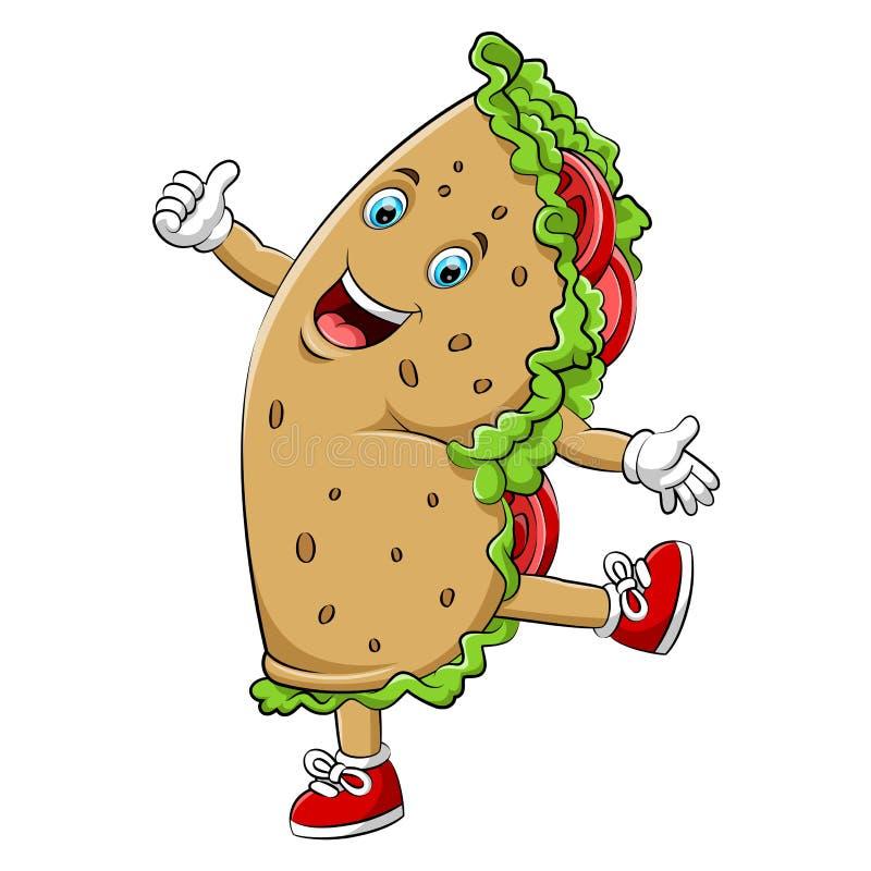 Un caractère heureux de burrito ou de chiche-kebab de bande dessinée illustration de vecteur