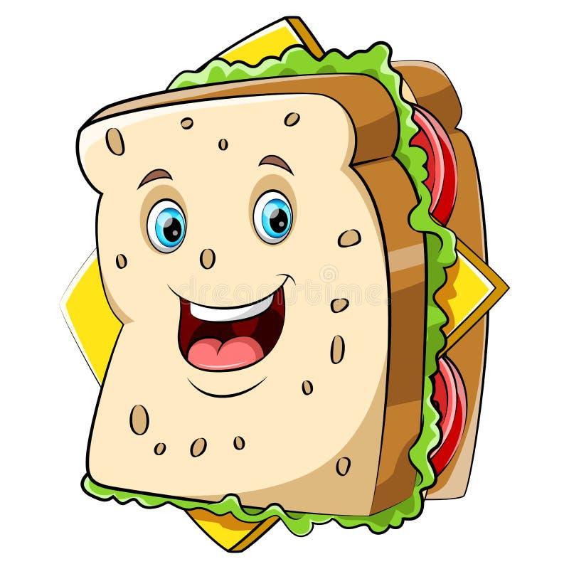 Un caractère heureux de sandwich à bande dessinée illustration stock