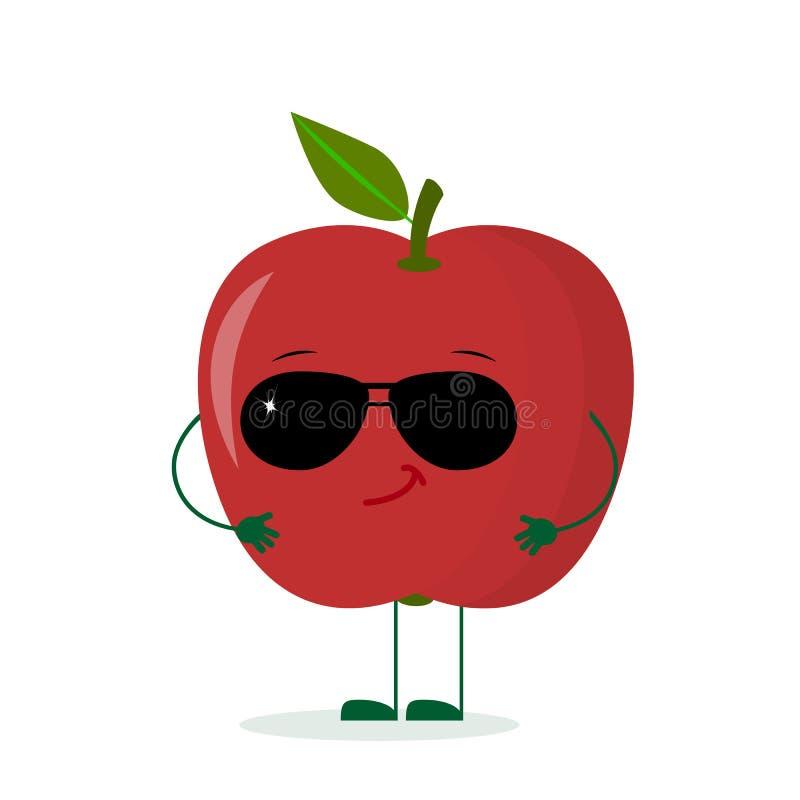 Un caractère rouge mignon de pomme dans le style d'une bande dessinée dans des lunettes de soleil Logo, calibre, conception Illus illustration stock