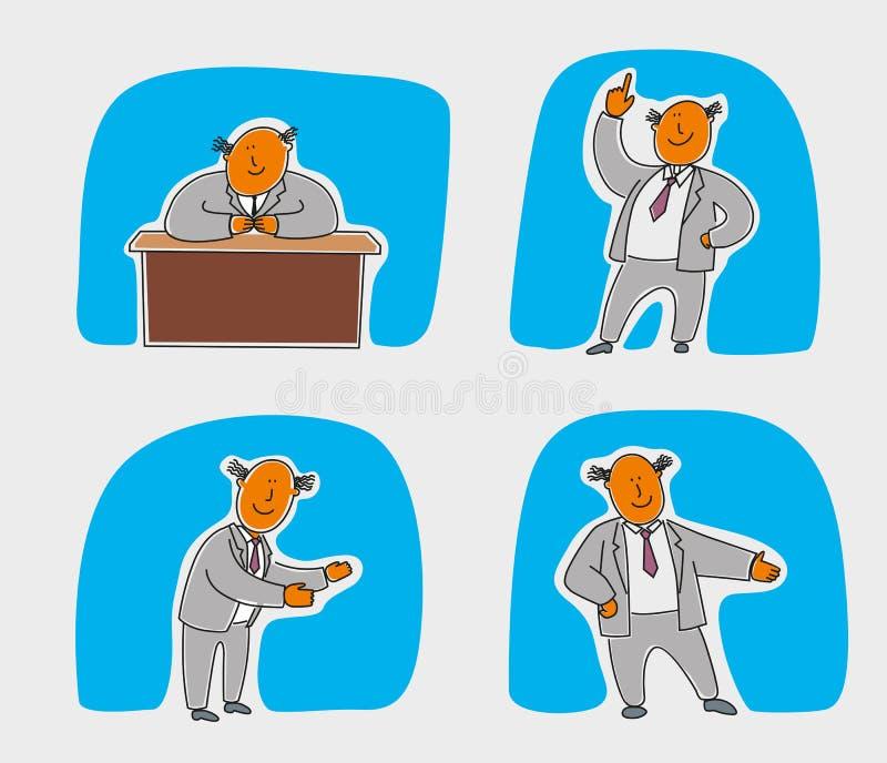 Un carattere allegro dell'ufficio dipinto con la grafica vettoriale illustrazione di stock
