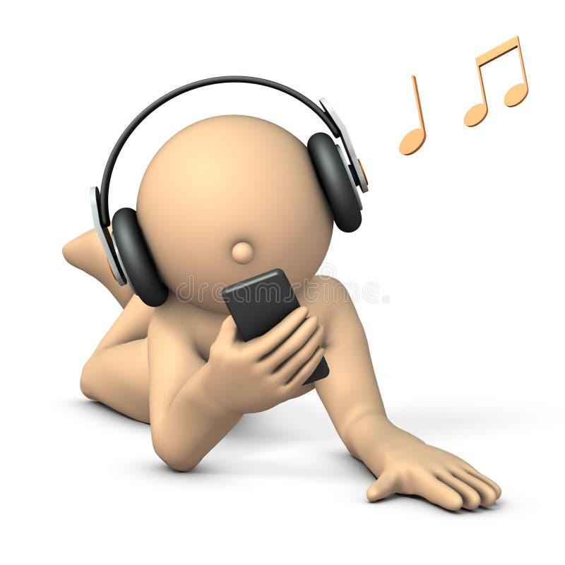 Un carattere chegode dell'ascoltare la musica con le cuffie illustrazione di stock