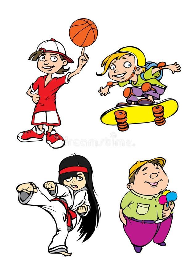 Un carattere dei quattro bambini royalty illustrazione gratis