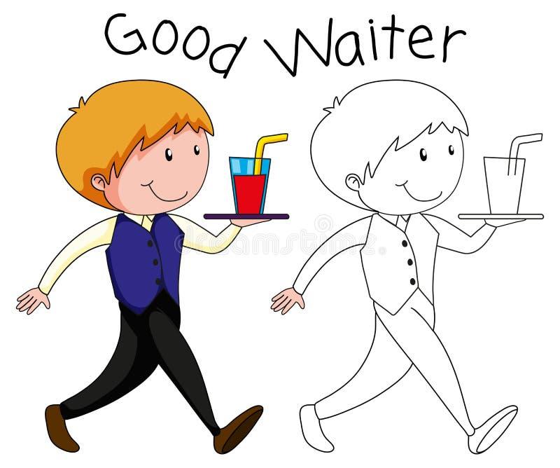 Un carattere del cameriere su backgroubd bianco illustrazione vettoriale