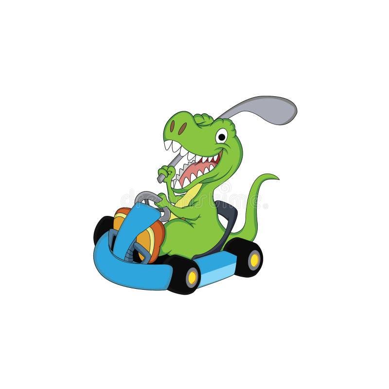 Un carattere del dinosauro che gioca golf con un'automobile di andare illustrazione di stock