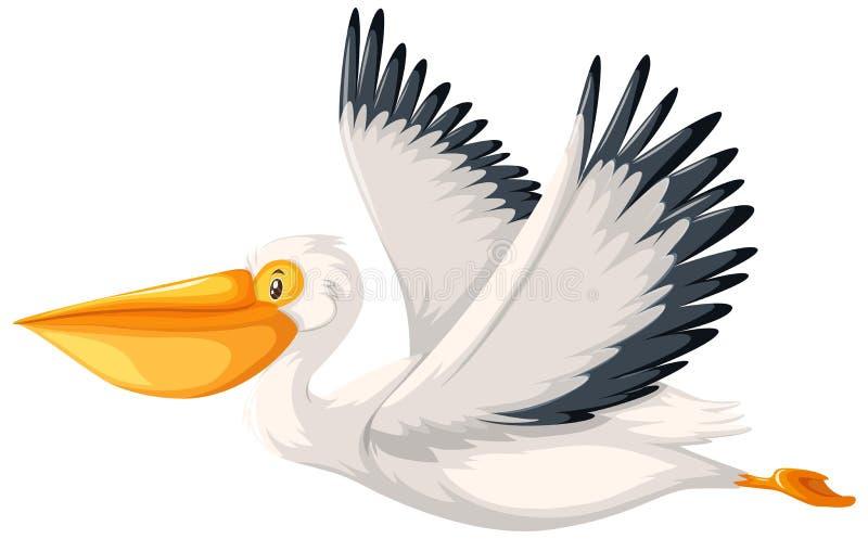 Un carattere del pellicano su fondo bianco illustrazione vettoriale