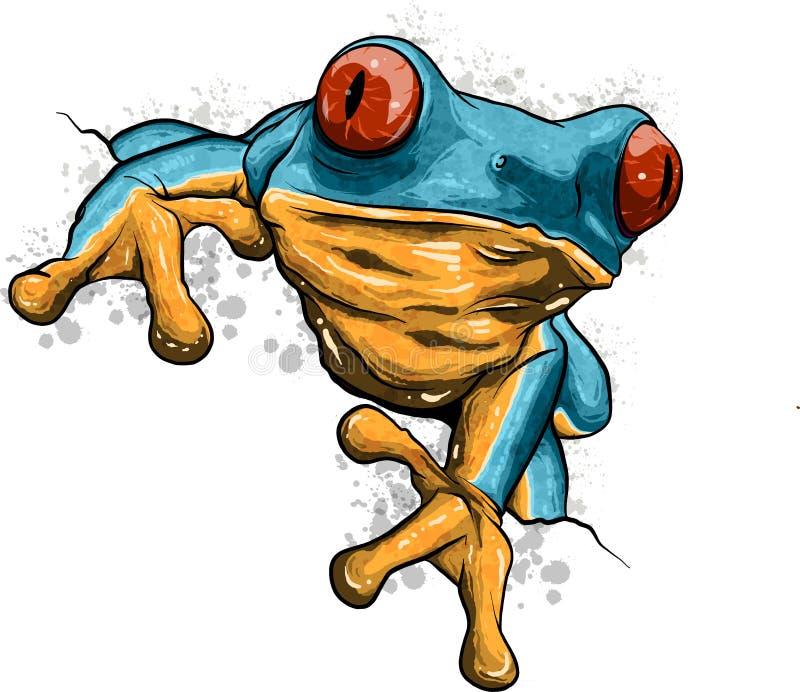 Un carattere della mascotte della rana del fumetto che indica con il suo dito royalty illustrazione gratis